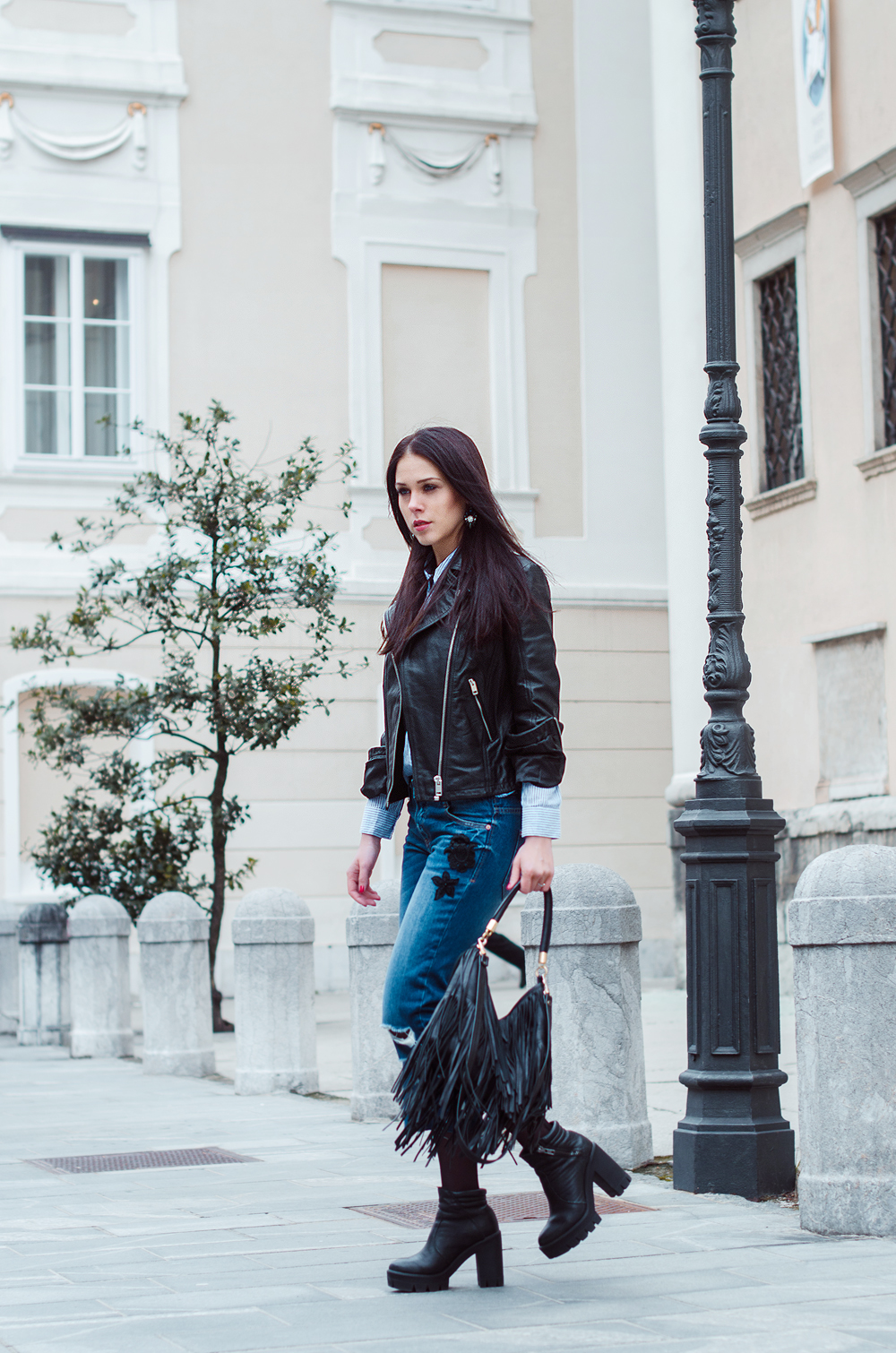 Eva Ahačevčič_Love, Eva_Diesel_leather jacket_Modni dodatki Bling bling_Crop pants_OOTD_Fringes_H&M 2