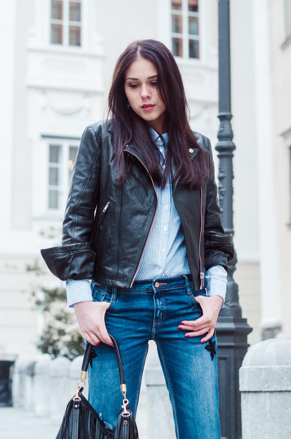 Eva Ahačevčič_Love, Eva_Diesel_leather jacket_Modni dodatki Bling bling_Crop pants_OOTD_Fringes_H&M 4