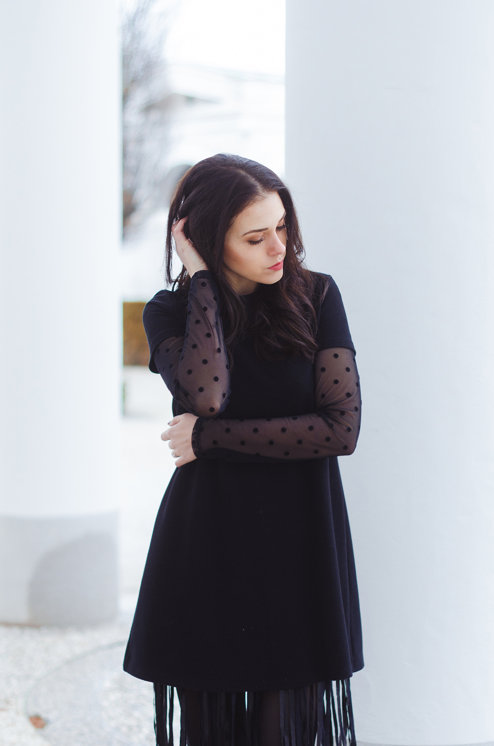Eva Ahačevčič_Love, Eva_Terminal 3_ Resice_Fringes_OOTD_Black from head to toe 4