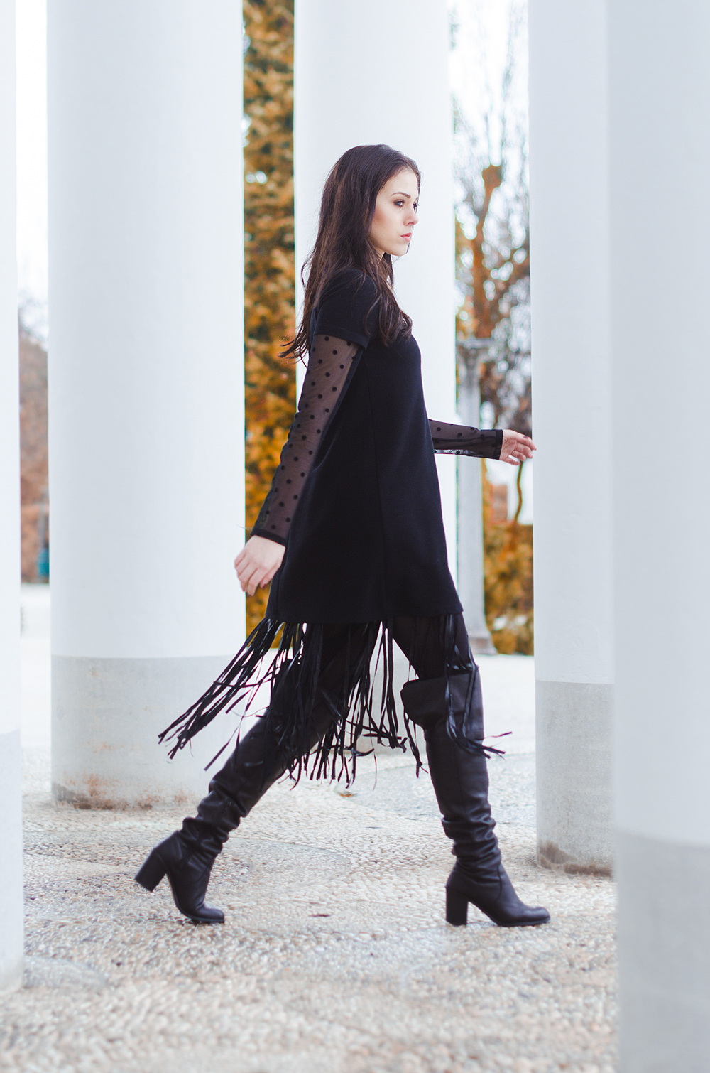 Eva Ahačevčič_Love, Eva_Terminal 3_ Resice_Fringes_OOTD_Black from head to toe 7