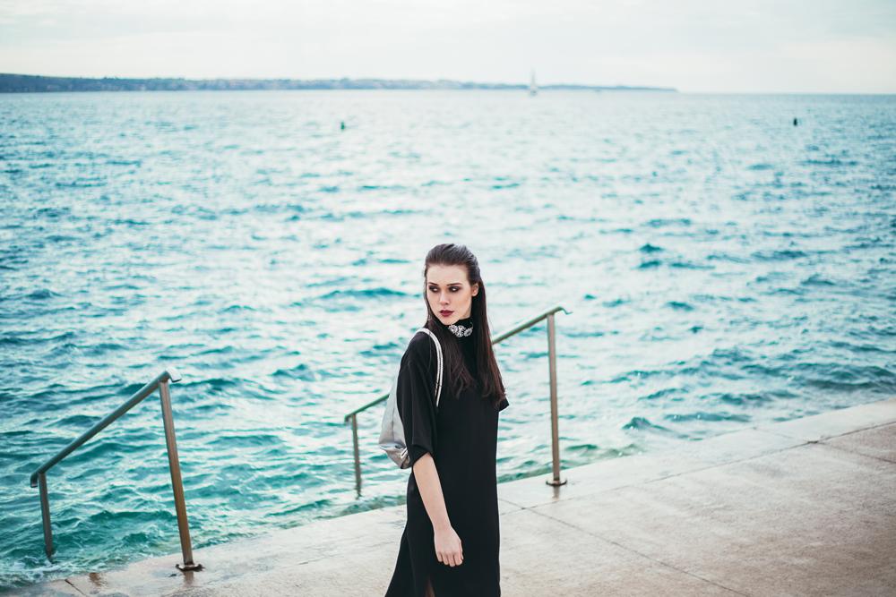 Eva Ahačevčič_Love, Eva_Black dress_Little black dress_Frachella_Backpack_Portorose
