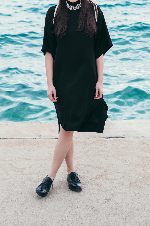 Eva Ahačevčič_Love, Eva_Black dress_Little black dress_Frachella_Backpack_Portorose_Details