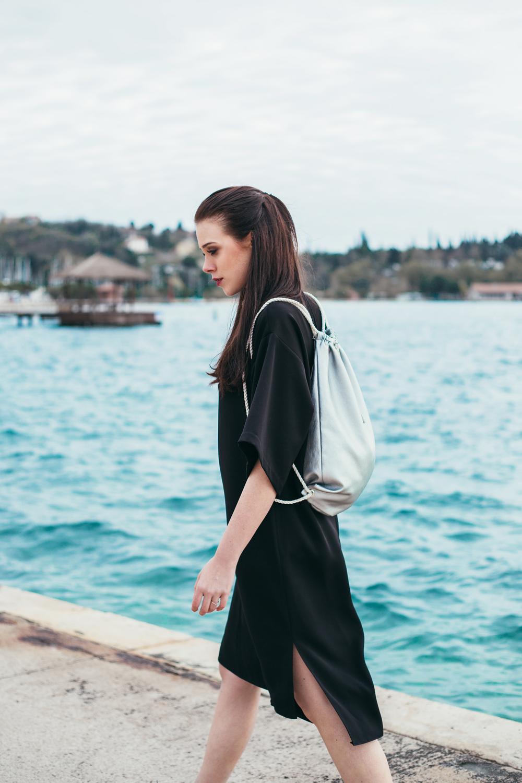 Eva Ahačevčič_Love, Eva_Black dress_Little black dress_Frachella_Backpack_Portorose_Fashion blogger_Designer