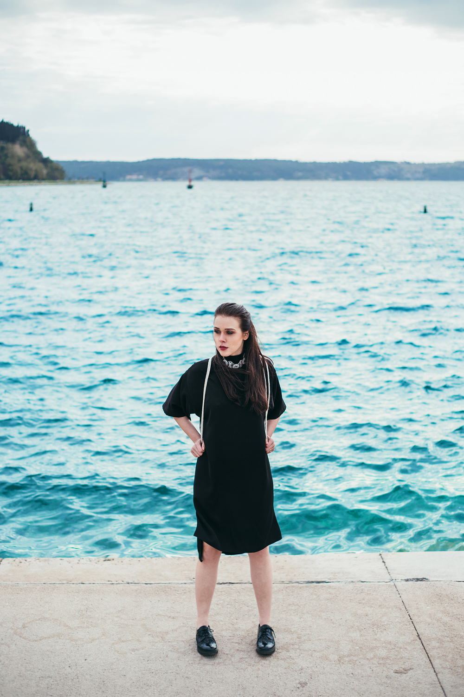 Eva Ahačevčič_Love, Eva_Black dress_Little black dress_Frachella_Backpack_Portorose_Seaside