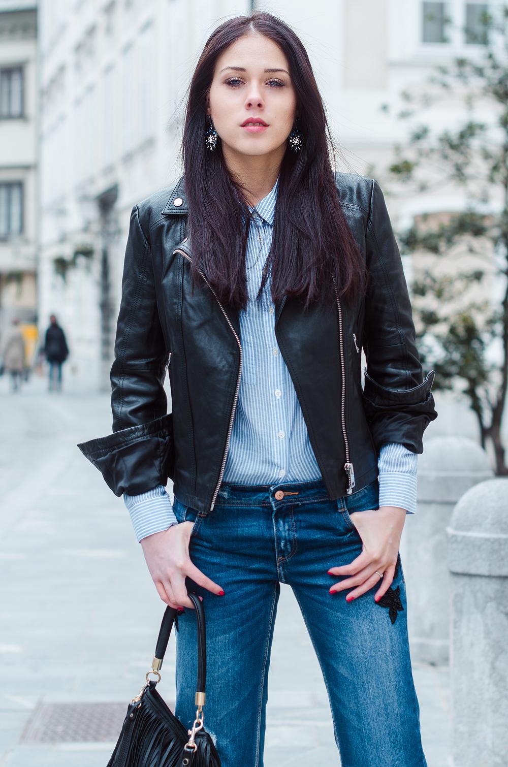 Eva Ahačevčič_Love, Eva_Diesel_leather jacket_Modni dodatki Bling bling_Crop pants_OOTD