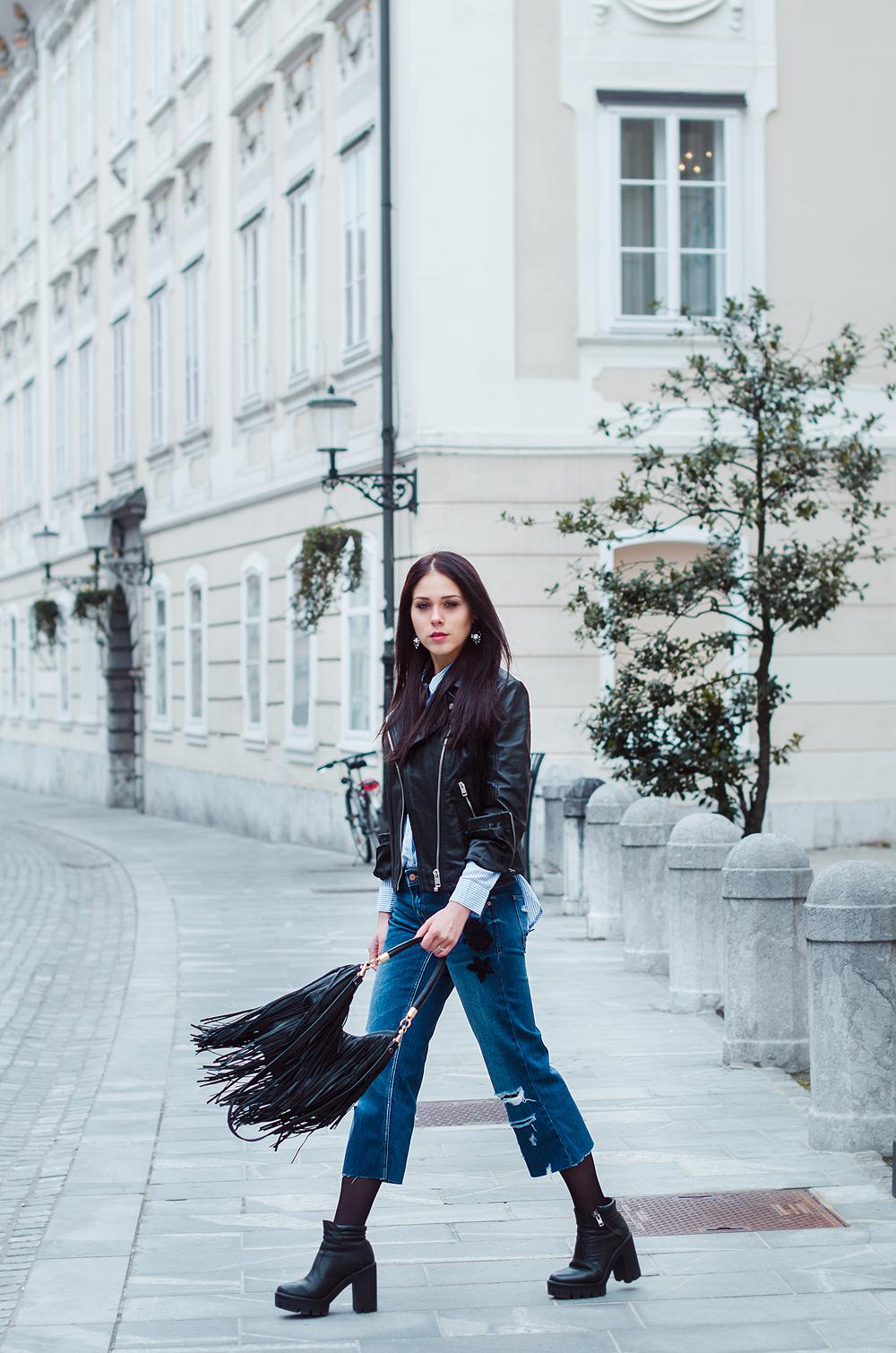 Eva Ahačevčič_Love, Eva_Diesel_leather jacket_Modni dodatki Bling bling_Crop pants_OOTD_Fringes_H&M 1