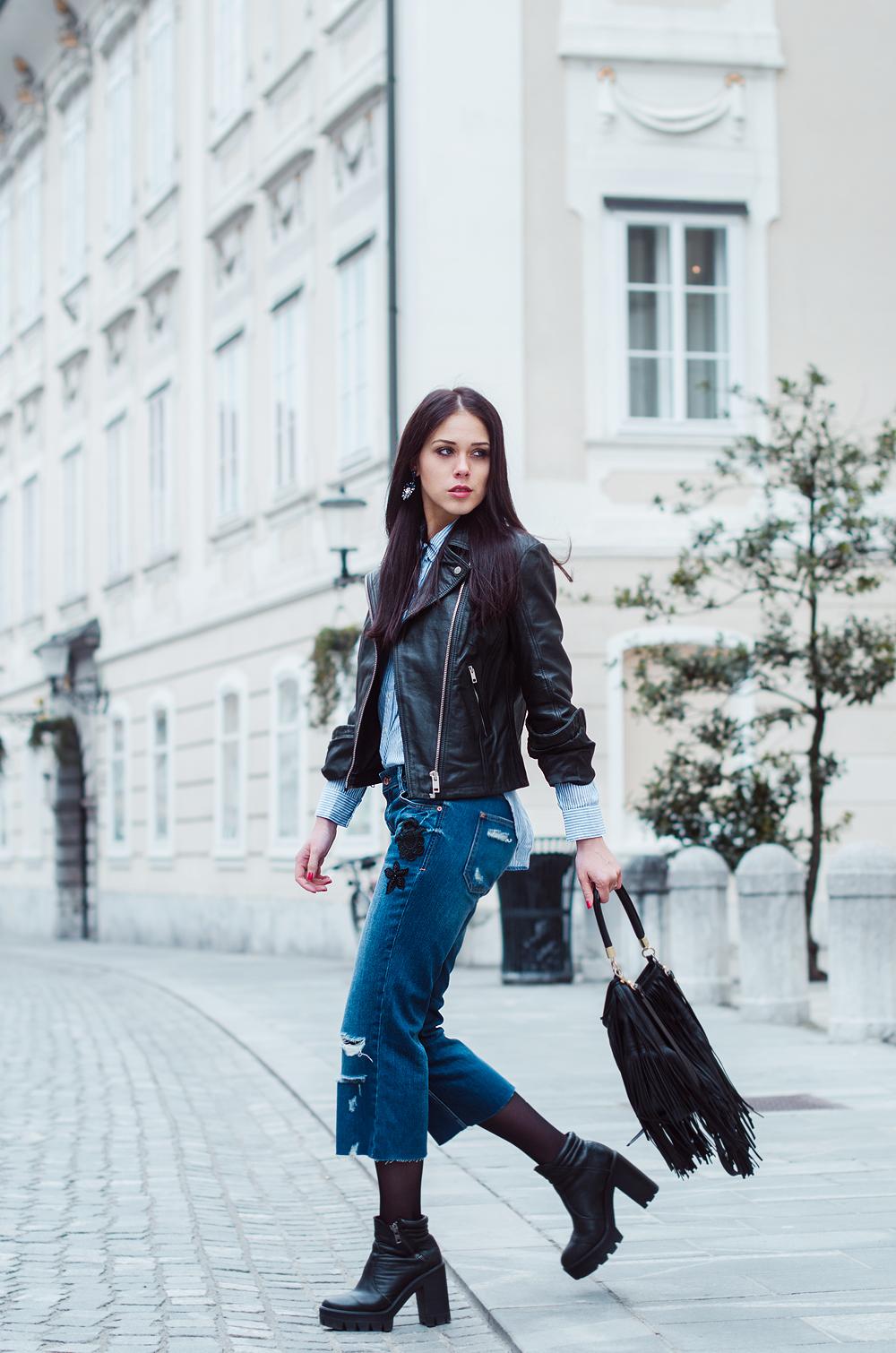 Eva Ahačevčič_Love, Eva_Diesel_leather jacket_Modni dodatki Bling bling_Crop pants_OOTD_Fringes_H&M 3