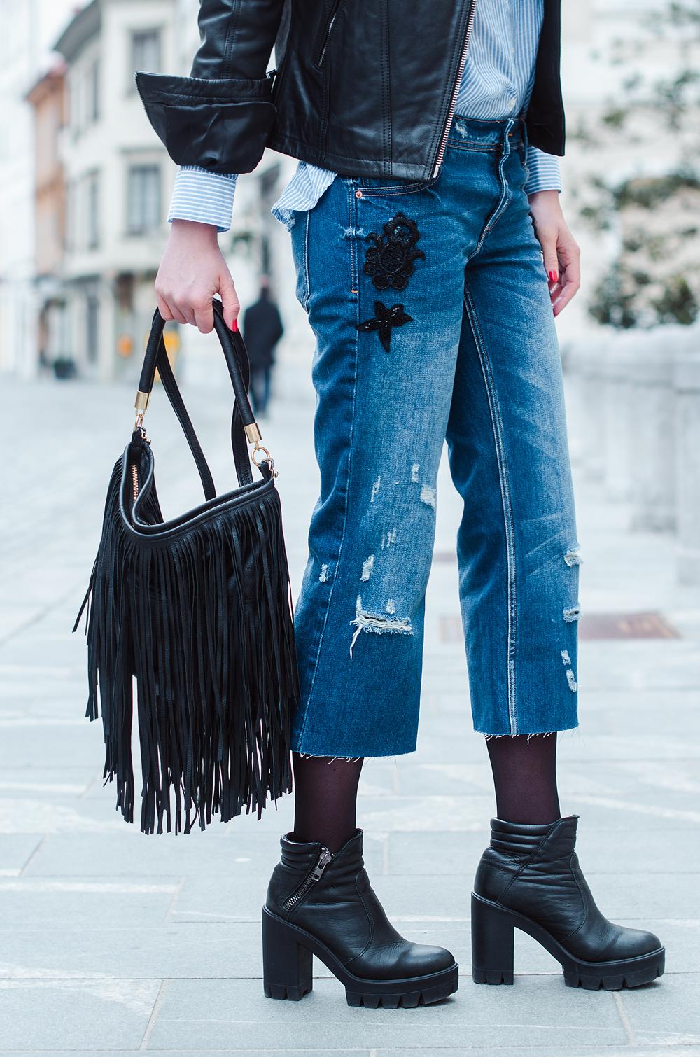 Eva Ahačevčič_Love, Eva_Diesel_leather jacket_Modni dodatki Bling bling_Crop pants_OOTD_Fringes_H&M 7