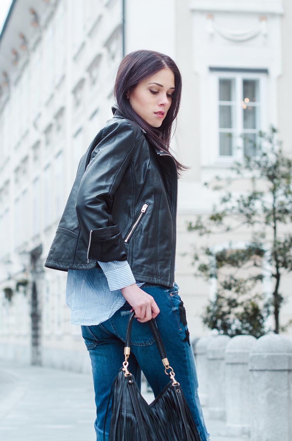 Eva Ahačevčič_Love, Eva_Diesel_leather jacket_Modni dodatki Bling bling_Crop pants_OOTD_Fringes_H&M