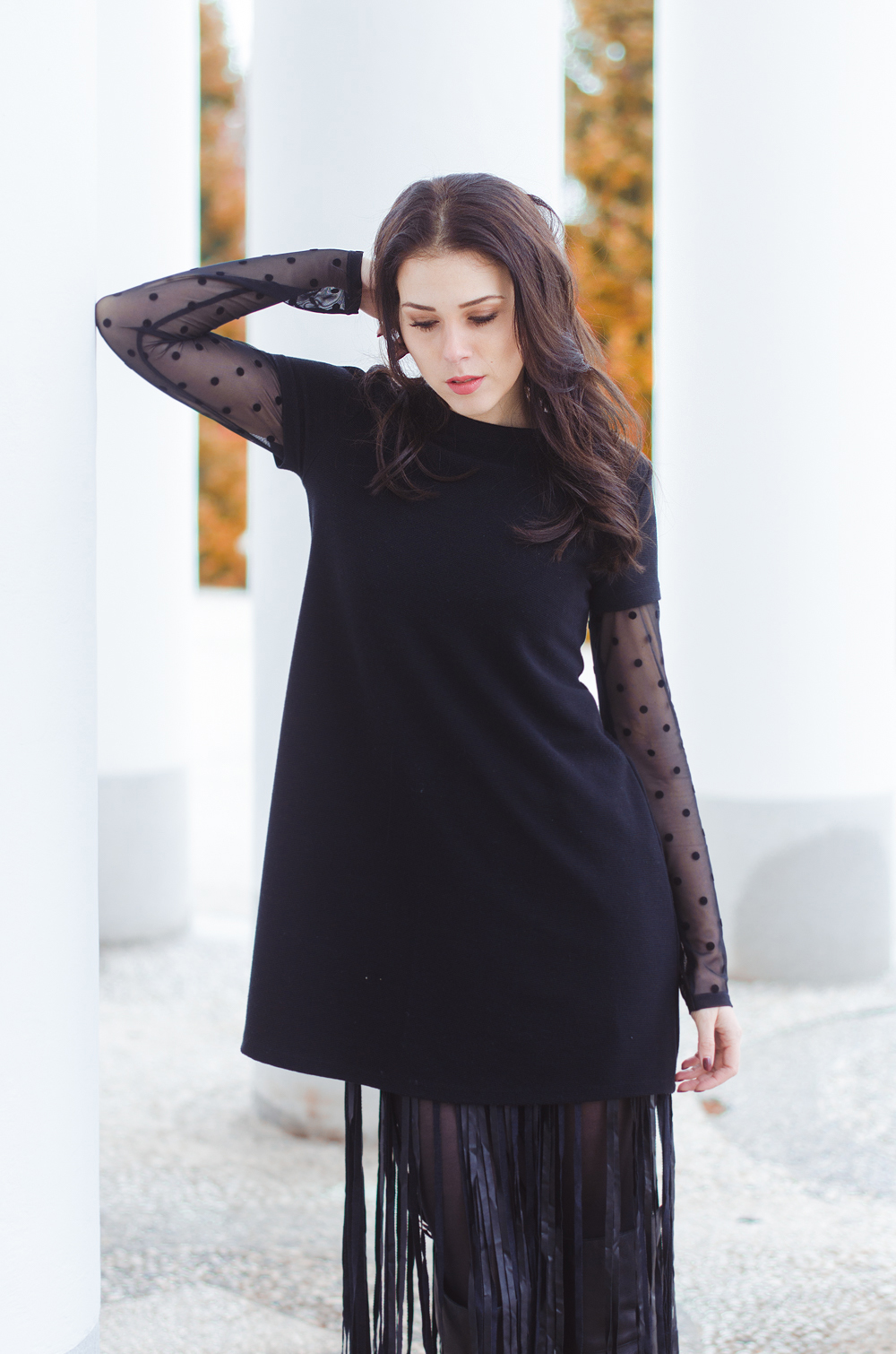 Eva Ahačevčič_Love, Eva_Terminal 3_ Resice_Fringes_OOTD_Black from head to toe 2