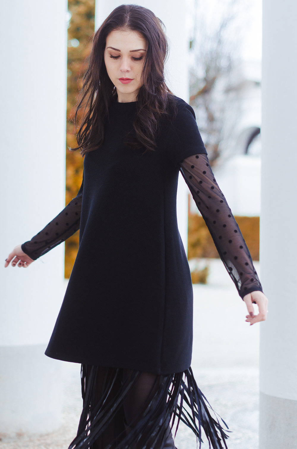 Eva Ahačevčič_Love, Eva_Terminal 3_ Resice_Fringes_OOTD_Black from head to toe 6