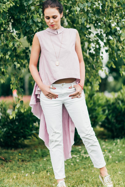 Eva Ahačevčič_Love, Eva_OOTD_Asymetric shirt_White jeans_Terminal3 1